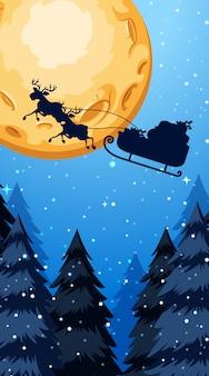 Weihnachtsthemaillustration mit weihnachtsmann-fliegen nachts