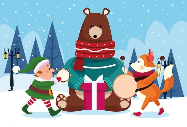 Weihnachtstiere und sankt-helfer, die musikinstrumente in schneebedecktem tag, bunt, illustration spielen