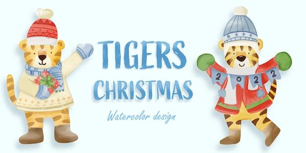 Weihnachtstiger-aquarellillustration