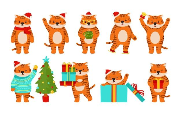 Weihnachtstiger-tiercharakter-maskottchen neues jahr in weihnachtsmütze und geschenkbox-baum