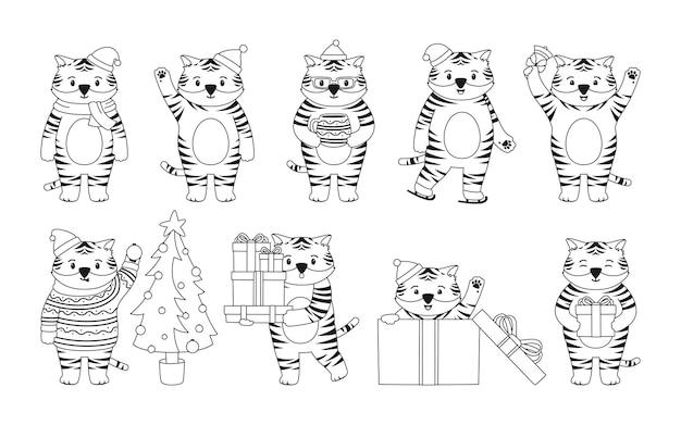 Weihnachtstiger tiercharakter maskottchen neujahr