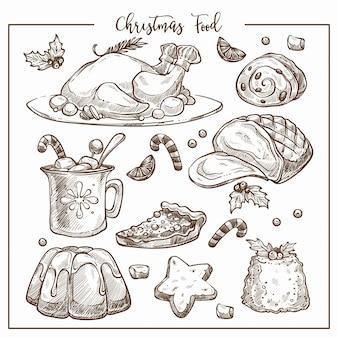 Weihnachtstraditioneller abendessenmenüskizzen-illustrationssatz teller.