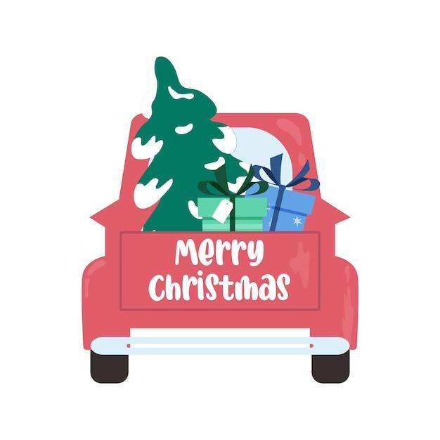Weihnachtstruck mit baum und geschenkboxen