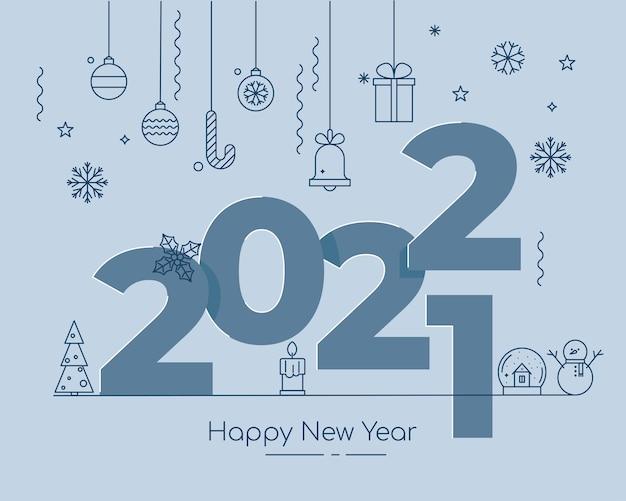 Weihnachtsumrisssymbole mit großen 2022-buchstaben grußkarte oder business-banner-vorlage vektor