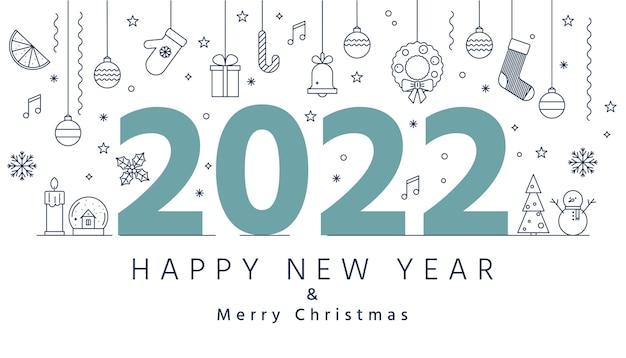 Weihnachtsumrisssymbole und 2022 buchstaben neujahr frohe weihnachten grußkarte oder banner
