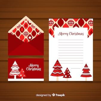 Weihnachtsumschlag- und -briefkonzept in der flachen art