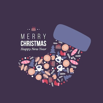 Weihnachtsurlaub filzstiefel mit handgezeichneten winterelementen im doodle-stil. dunkler hintergrund mit grußtext, vektorillustration.