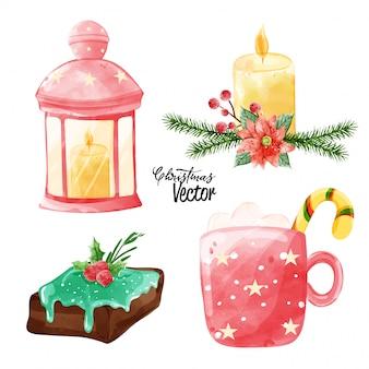Weihnachtsvektor-elementsammlung in der schmerzenden art des aquarells.