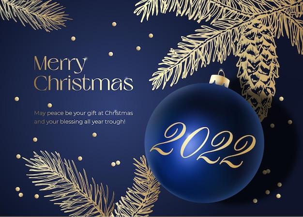 Weihnachtsvektor-grußkarte, poster oder feiertags-hintergrund. noble blau- und goldfarben, glitzer-lametta und zeitgenössische typografie. realistische weihnachtskugel mit handgezeichneten fichtenzweigen