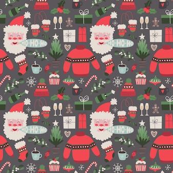 Weihnachtsvektor nahtloses muster auf dunklem hintergrund feiertagsillustration mit traditionellen elementen