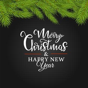 Weihnachtsvektorbanner mit einem streifen aus tannenzweigen und einer aufschrift in der mitte