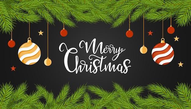 Weihnachtsvektorbanner mit einem streifen aus tannenzweigen, verziert mit sternen und kugeln