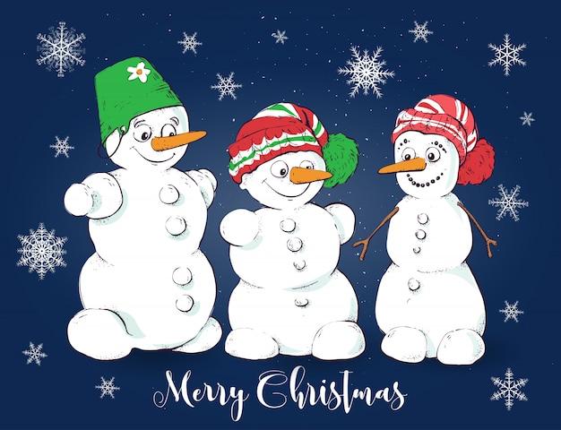 Weihnachtsvektorgrußkarte mit netten schneemännern.