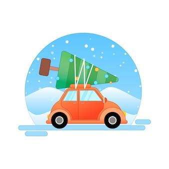 Weihnachtsvektorillustration mit weihnachtsbaumauto und -schnee
