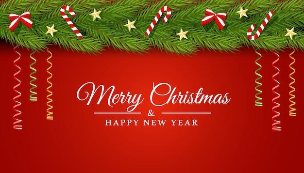 Weihnachtsvektorkarte mit einem streifen aus tannenzweigen, verziert mit sternenschlange und süßigkeiten