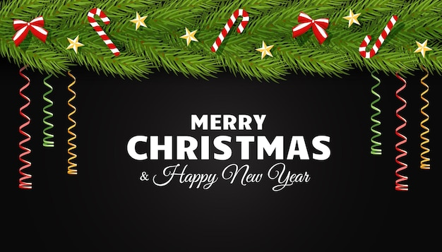 Weihnachtsvektorkarte mit einem streifen aus tannenzweigen, verziert mit sternenschlangenbogen und süßigkeiten