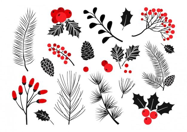 Weihnachtsvektorpflanzen, stechpalmenbeere, weihnachtsbaum, kiefer, eberesche, blätterzweige, feiertagsdekoration, wintersymbole. rote und schwarze farben. vintage naturillustration