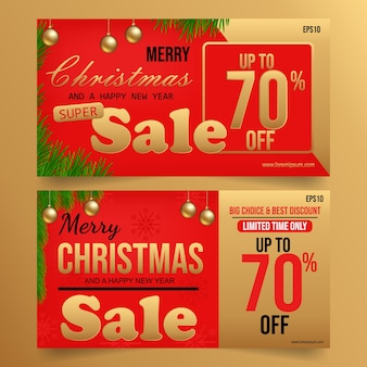 Weihnachtsverkauf auf rot-gold-hintergrund