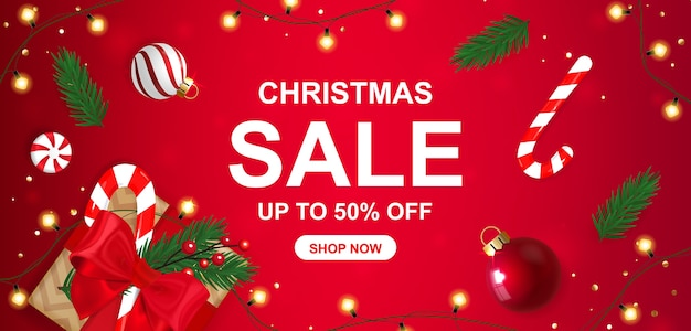 Weihnachtsverkauf banner 50% rabatt mit geschenkbox.