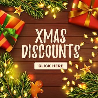 Weihnachtsverkauf banner. holztisch mit geschenken. draufsicht.