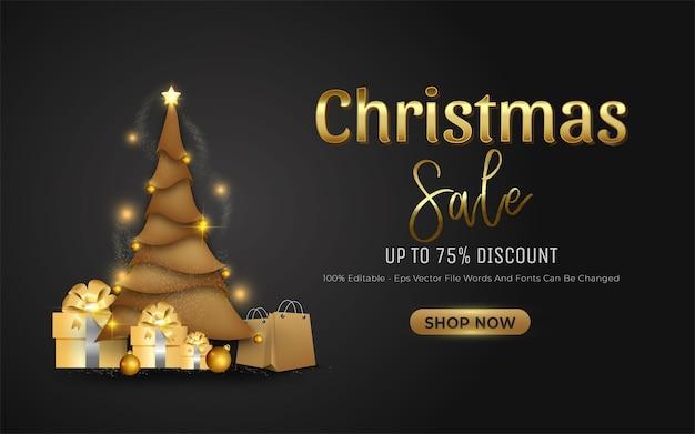 Weihnachtsverkauf banner mit goldenen weihnachtsbaum und shop jetzt button