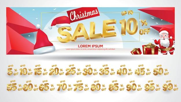 Weihnachtsverkauf banner mit rabatt-tag 10,20,30,40,50,60,70,80,90,99 prozent