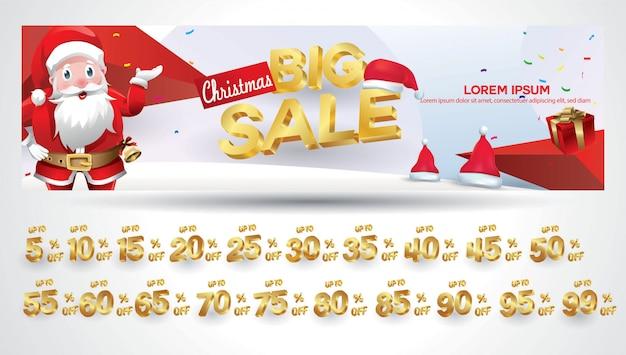 Weihnachtsverkauf banner mit rabattschild 10,20,30,40,50,60,70,80,90,99 prozent 130