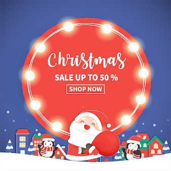 Weihnachtsverkauf banner mit santa klausel und freunden.