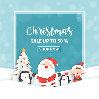 Weihnachtsverkauf banner mit santa klausel und freunden
