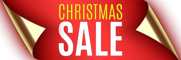 Weihnachtsverkauf banner. rotes band mit gebogenen kanten. aufkleber.