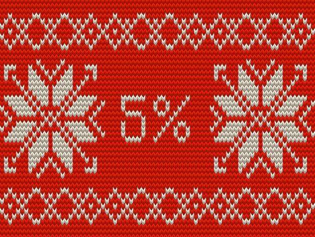 Weihnachtsverkauf banner vorlage. fünf prozent gestrickter skandinavischer ornamentstil. und beinhaltet auch