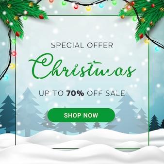 Weihnachtsverkauf banner winterlandschaft