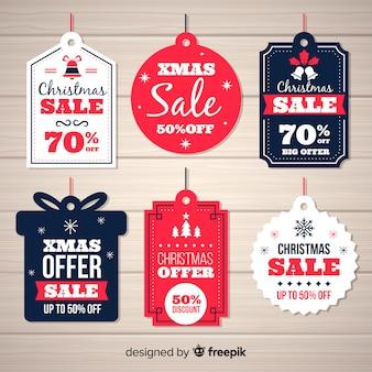 Weihnachtsverkauf beschriftet verschiedene formen