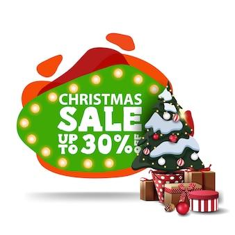 Weihnachtsverkauf, bis zu 30 rabatt, modernes grünes rabattbanner im lavalampenstil mit glühbirnenlichtern