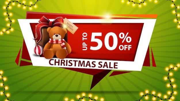 Weihnachtsverkauf, bis zu 50% rabatt, rote rabatt-banner in form von geometrischen platte