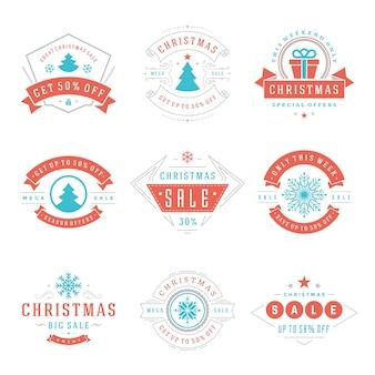 Weihnachtsverkauf etiketten und abzeichen mit text typografische dekoration design vektor vintage-stil gesetzt für banner, werbebroschüren, feiertagsrabatt poster, shopping werbeflyer