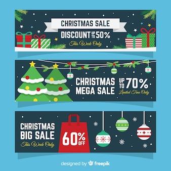 Weihnachtsverkauf flache banner packung