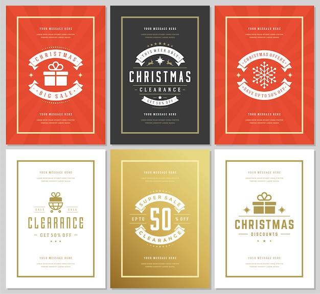 Weihnachtsverkauf flyer oder banner design set rabattangebote