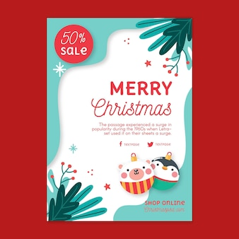 Weihnachtsverkauf flyer vertikal