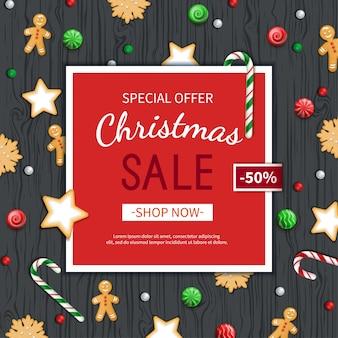 Weihnachtsverkauf flyer vorlage poster karte label hintergrund banner spezielles saisonales angebot
