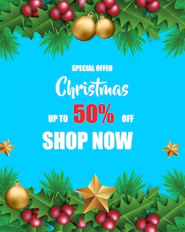 Weihnachtsverkauf für förderung mit blätter und weihnachtsdekorationen im blauen hintergrund
