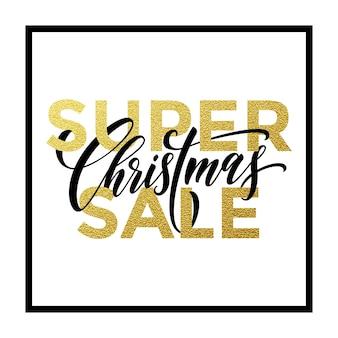 Weihnachtsverkauf gold glitter karte