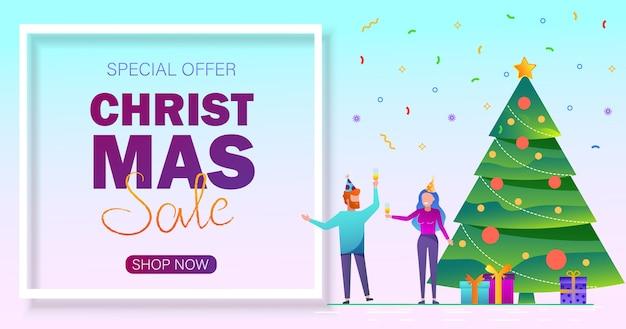 Weihnachtsverkauf hintergrund. frohe weihnachten verkauf banner mit menschen