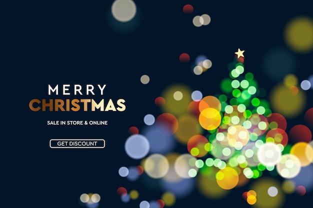Weihnachtsverkauf. horizontaler hintergrund des weihnachtsbaumglitzers verwischen bokeh-effekt.