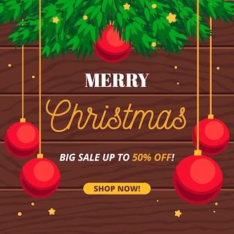 Weihnachtsverkauf im flachen design