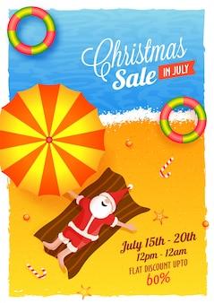Weihnachtsverkauf im juli poster.