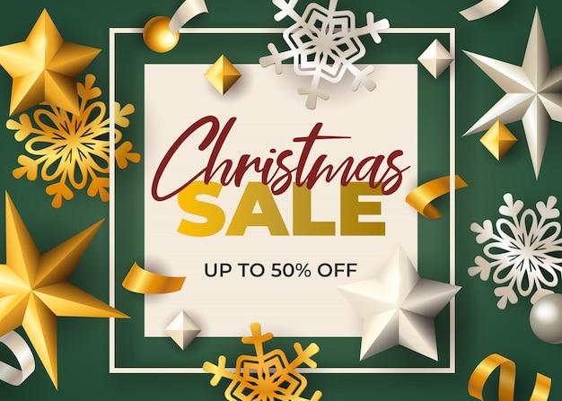 Weihnachtsverkauf im rahmen mit sternen und schneeflocken