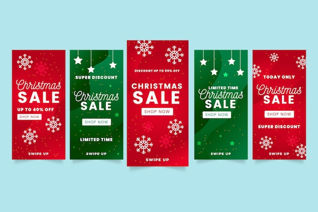 Weihnachtsverkauf instagram geschichten packen