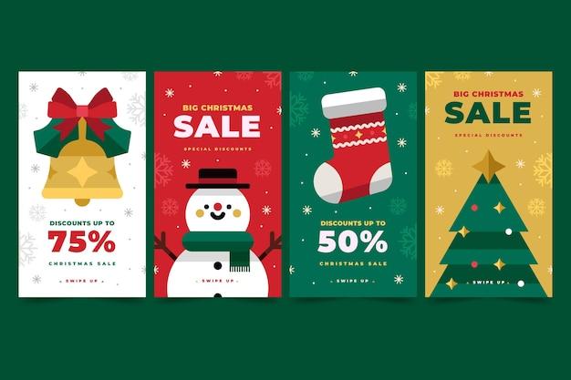 Weihnachtsverkauf instagram geschichten Kostenlosen Vektoren