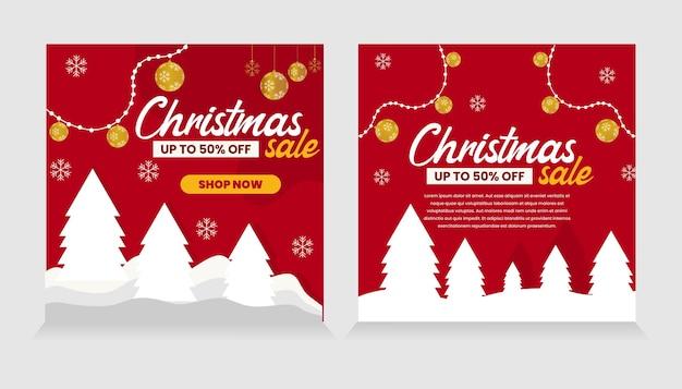 Weihnachtsverkauf instagram post collection premium vector